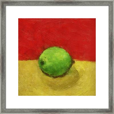 Lime With Red And Gold Framed Print by Michelle Calkins