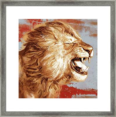 Lion Stylised Pop Art Drawing Potrait Poser Framed Print by Kim Wang