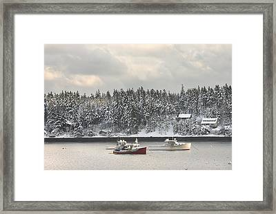 Lobster Boats After Snowstorm In Tenants Harbor Maine Framed Print by Keith Webber Jr