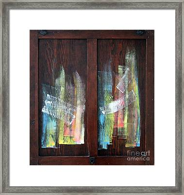 Log Fire Cabinet Door Framed Print by Asha Carolyn Young