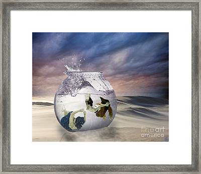 2 Lost Souls Living In A Fishbowl Framed Print by Linda Lees