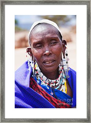 Maasai Woman Portrait In Tanzania Framed Print by Michal Bednarek