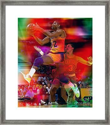 Magic Johnson Framed Print by Marvin Blaine