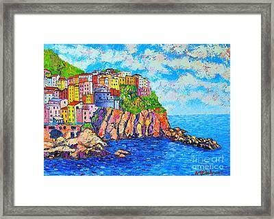 Manarola Cinque Terre Italy  Framed Print by Ana Maria Edulescu