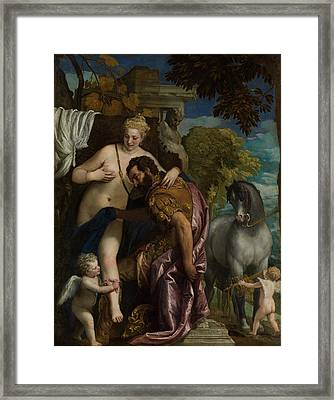 Mars And Venus United By Love Framed Print by Paolo Veronese