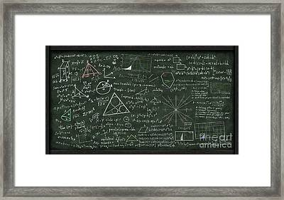 Maths Formula On Chalkboard Framed Print by Setsiri Silapasuwanchai