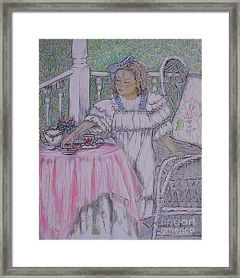 Mckenna's Tea Party Framed Print by Linda Simon