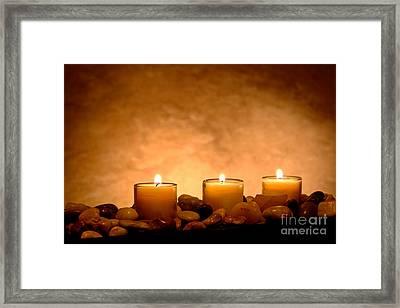 Meditation Candles Framed Print by Olivier Le Queinec