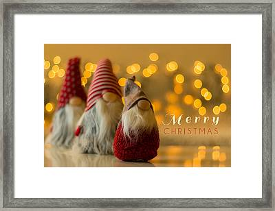 Merry Christmas Greeting Card Framed Print by Aldona Pivoriene