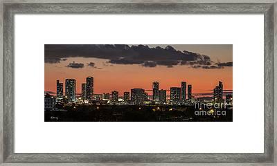 Miami Sunset Skyline Framed Print by Rene Triay Photography