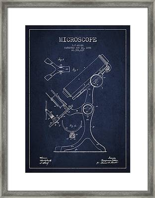 Microscope Patent Drawing From 1886 - Navy Blue Framed Print by Aged Pixel