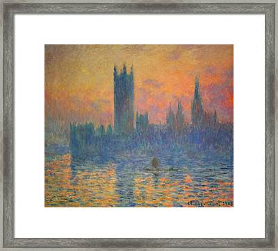 Monet's The Houses Of Parliament At Sunset Framed Print by Cora Wandel