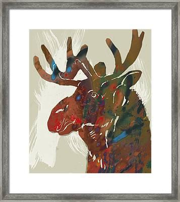Moose - Wild Animal Stylised Pop Art Drawing Portrait Poster Framed Print by Kim Wang