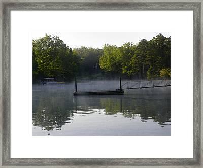 Morning Fog On The Lake Framed Print by Lisa Wooten