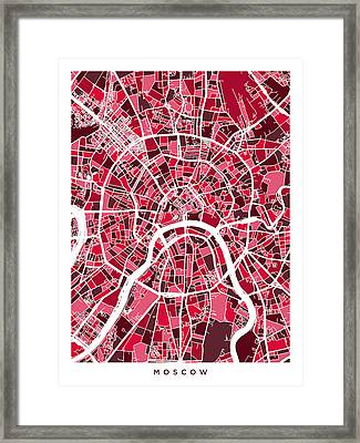 Moscow City Street Map Framed Print by Michael Tompsett