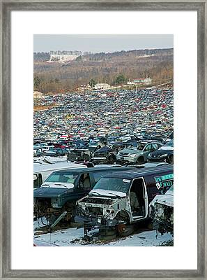 Motor Vehicles At A Scrapyard Framed Print by Jim West