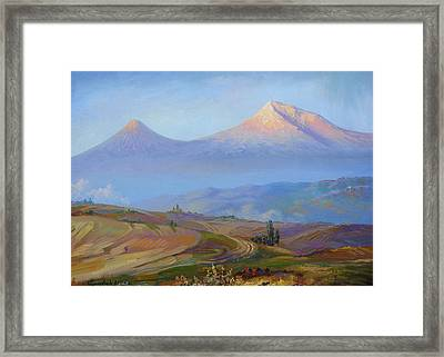 Mountain Ararat In The Early Morning Framed Print by Meruzhan Khachatryan