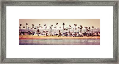 Newport Beach Skyline Retro Panorama Photo Framed Print by Paul Velgos