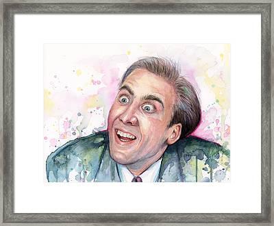 Nicolas Cage You Don't Say Watercolor Portrait Framed Print by Olga Shvartsur