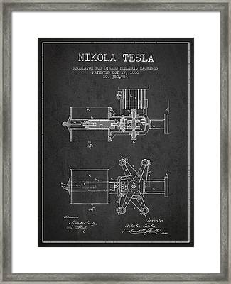 Nikola Tesla Patent Drawing From 1886 - Dark Framed Print by Aged Pixel