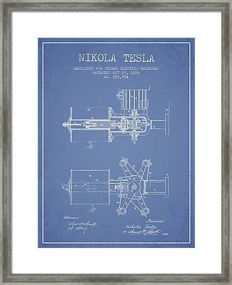 Nikola Tesla Patent Drawing From 1886 - Light Blue Framed Print by Aged Pixel