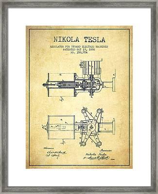 Nikola Tesla Patent Drawing From 1886 - Vintage Framed Print by Aged Pixel