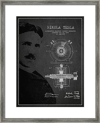 Nikola Tesla Patent From 1891 Framed Print by Aged Pixel