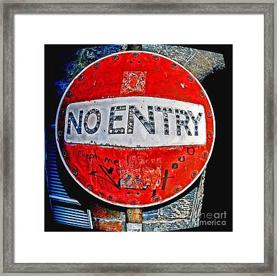 No Entry Sign Framed Print by Craig B