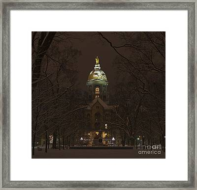 Notre Dame Golden Dome Snow Framed Print by John Stephens