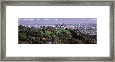 Observatory On A Hill With Cityscape Framed Print by Panoramic Images