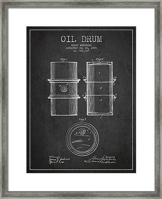 Oil Drum Patent Drawing From 1905 Framed Print by Aged Pixel