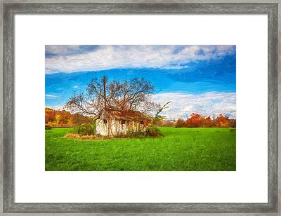 Old Farm Building Painted Bw  Framed Print by Rich Franco