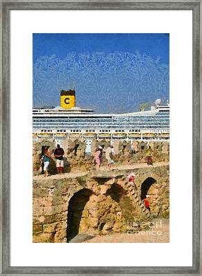 Old Fortification And Cruise Ship Framed Print by George Atsametakis