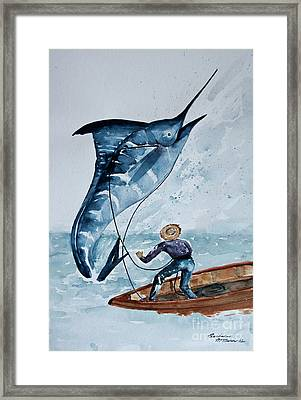 Old Man And The Sea Framed Print by Barbara McMahon