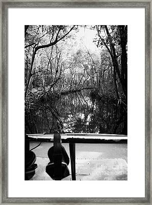 On Board An Airboat Ride Through A Mangrove Jungle In Everglades City Florida Everglades Framed Print by Joe Fox