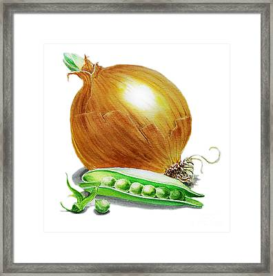 Onion And Peas Framed Print by Irina Sztukowski