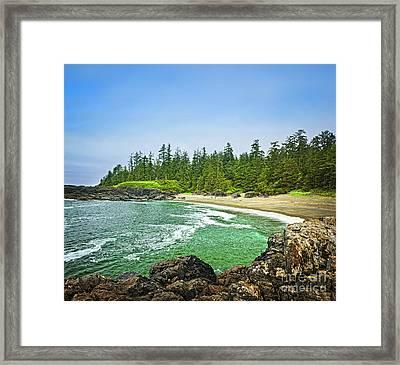 Pacific Ocean Coast On Vancouver Island Framed Print by Elena Elisseeva