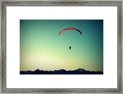Paraglider Framed Print by Chevy Fleet