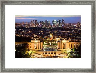 Paris Panorama France At Night Framed Print by Michal Bednarek