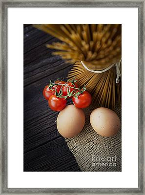 Pasta Ingredients Framed Print by Mythja  Photography