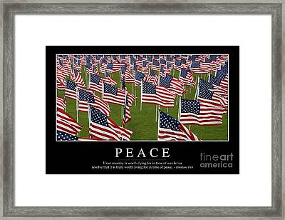Peace Inspirational Quote Framed Print by Stocktrek Images