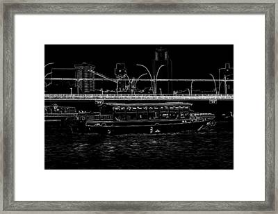 Pencil - Colorful River Cruise Boat In Singapore Next To A Bridge Framed Print by Ashish Agarwal