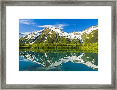Person Canoeing In Small Lake In Framed Print by Michael DeYoung