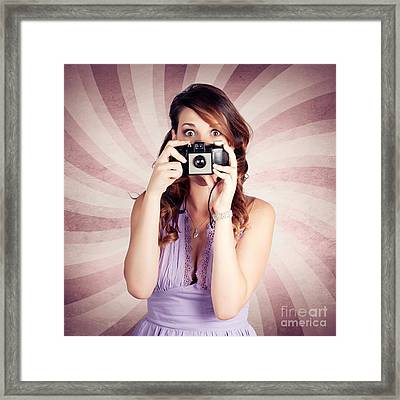 Pin-up Photographer Girl Taking Surprise Photo Framed Print by Jorgo Photography - Wall Art Gallery