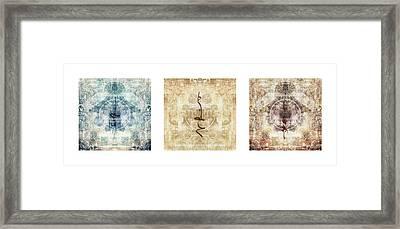 Prayer Flag Triptych Framed Print by Carol Leigh