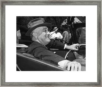 President Franklin Roosevelt Framed Print by Underwood Archives