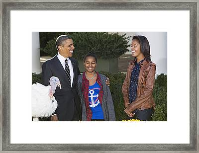 President Obama And Daughters Framed Print by JP Tripp