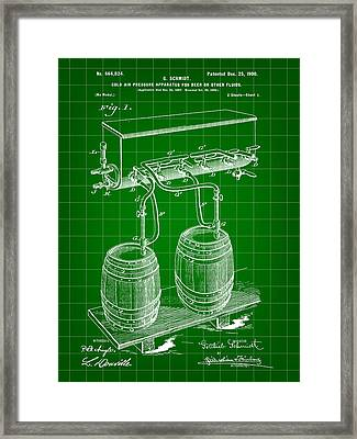 Pressure Apparatus For Beer Patent 1897 - Green Framed Print by Stephen Younts