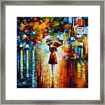 Rain Princess - Palette Knife Landscape Oil Painting On Canvas By Leonid Afremov Framed Print by Leonid Afremov