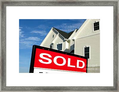 Real Estate Realtor Sold Sign And House For Sale Framed Print by Olivier Le Queinec